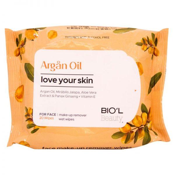 دستمال مرطوب پاک کننده آرایش صورت مناسب پوست خشک و حساس روغن آرگان 20 عددی