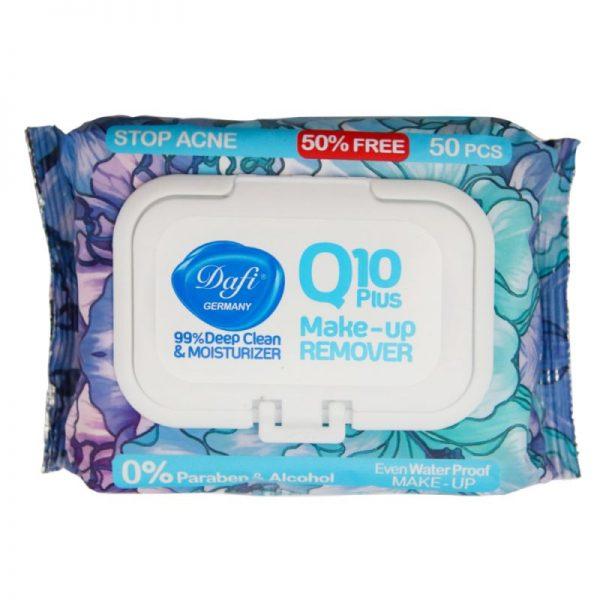 دستمال مرطوب آرایشی دافی مدل Stop Acne حاوی Q10 طرح گل 50 عددی